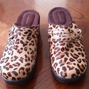 Land's End Clogs with Leopard Print